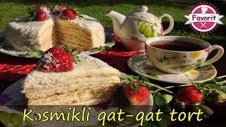 🔵 Qat qat xəmirdən kəsmikli tort | Kəsmikli tort hazırlanması | qat qat tort resepti