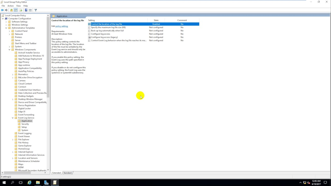 Modify the location of the log file in Windows Server 2016