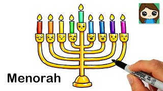 How to Draw a Menorah Easy | Hanukkah