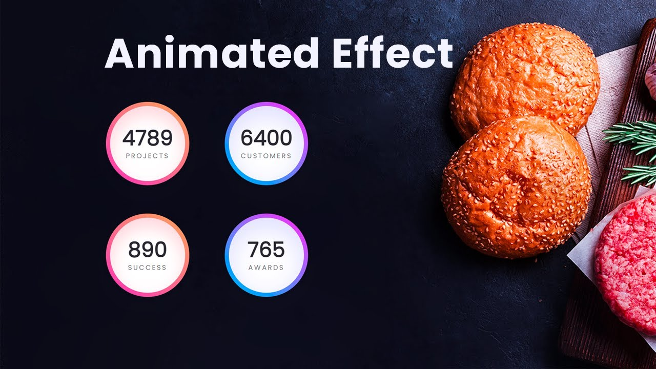 Modern HTML CSS Counter Up animation Effect - Latest Animation Effect in Website