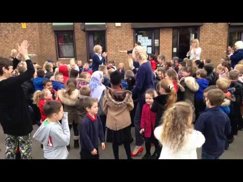 Duffryn Infant School surprise retiring head teacher Ruth Jones with emotional song