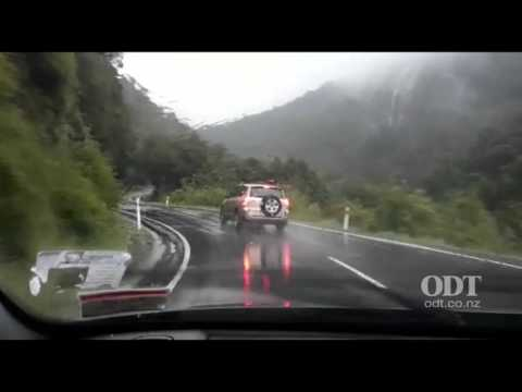 Car weaving all over the road near Milford Sound