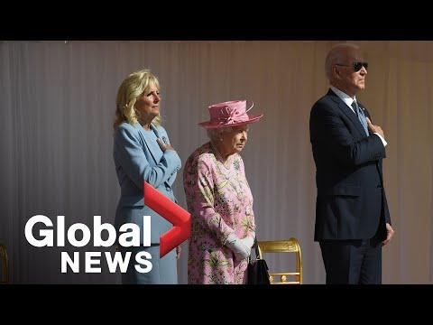 Bidens meet with Queen Elizabeth II, inspect guard of honour | FULL