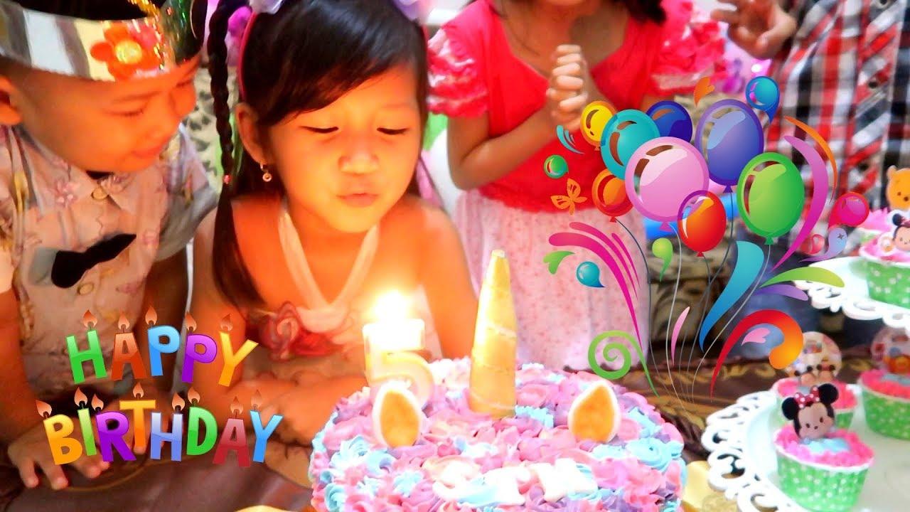 Selamat Ulang Tahun Hana Ke 5 Surprise Cake Birthday Potong Kue Ulang Tahun Di Rumah Happy Birthday