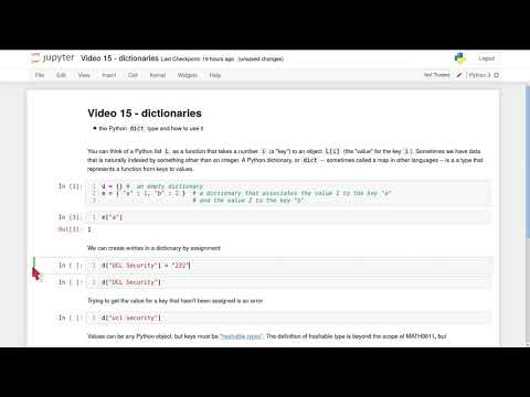 MATH0011 video 15 - dictionaries