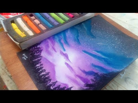 Pintando con solo 5 colores pastel-#2// painting a landscape just with 5 soft pastels- Speed drawing