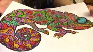 Speed Coloring a Drawing of an Iguana with Relaxing Music