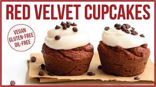 healthy vegan red velvet cupcakes hclf gluten free fruit sweetened