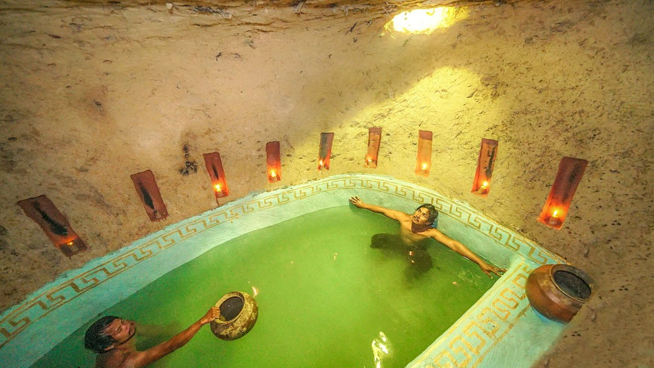 Building Secret Temple Underground And Bath Pools With Swimming Pools Inside