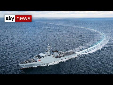 Royal Navy ships arrive at Jersey, to counter French fishing blockade