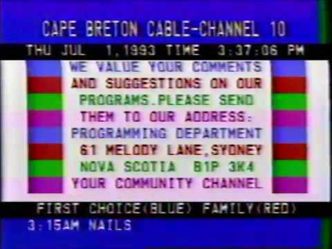 Cape Breton Cablevision TV listings and community bulletins part 2 July 1 1993