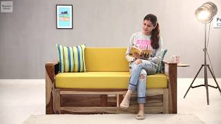 Sofa Cum Bed- Buy queen size Feltro Sofa Cum bed online in natural finish from Wooden Street