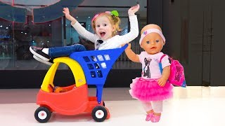 Shopping with Funny baby doll and play hide and seek thumbnail