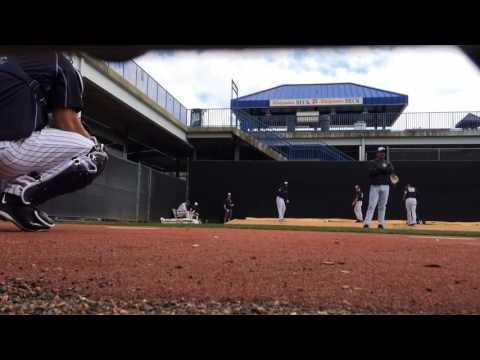Yankees closer Aroldis Chapman throws to catcher Gary Sanchez