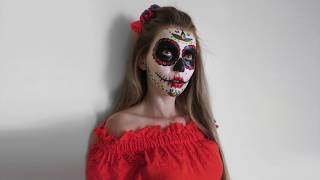 Halloween MakeUp Легкий Easy Cool fast Tutorial SugarSkull quick Макияж на ХЭЛЛОУИН Fix Price 2018