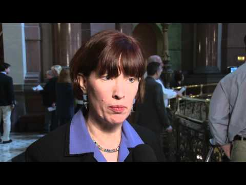 Sen. Heather Steans reacts to the Governor's budget address