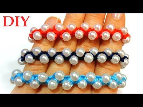 How to Make Macrame Bracelets| DIY Thread Bracelet With Pearls| Handmade Jewellery Ideas| Ola ameS