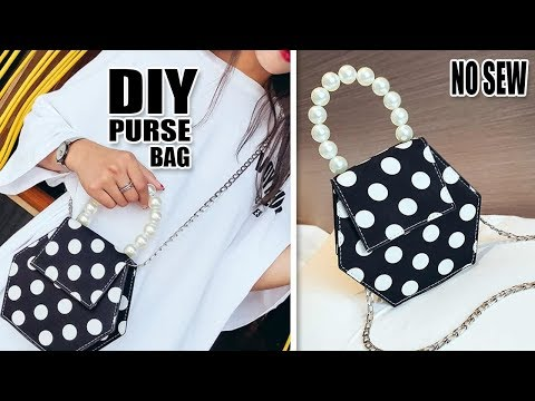 FANTASTIC DIY PURSE BAG DESIGN // Handmade Pearl Dotted Bag Tutorial No Sew