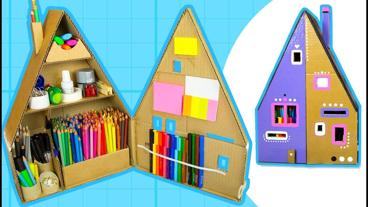 Diy Desk Organizer Make A Pencil House From Cardboard Box Craft