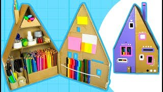 DIY Desk Organizer - Make a Pencil House from Cardboard Box | Craft Ideas on Box Yourself
