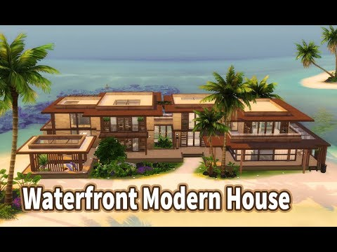 Waterfront Modern House | House Build (Stop Motion) | The Sims 4 Island Living | No CC