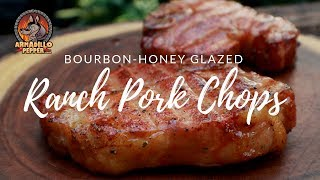 Ranch Pork Chops on Pit Boss Pellet Grill with Bourbon-Honey Glaze