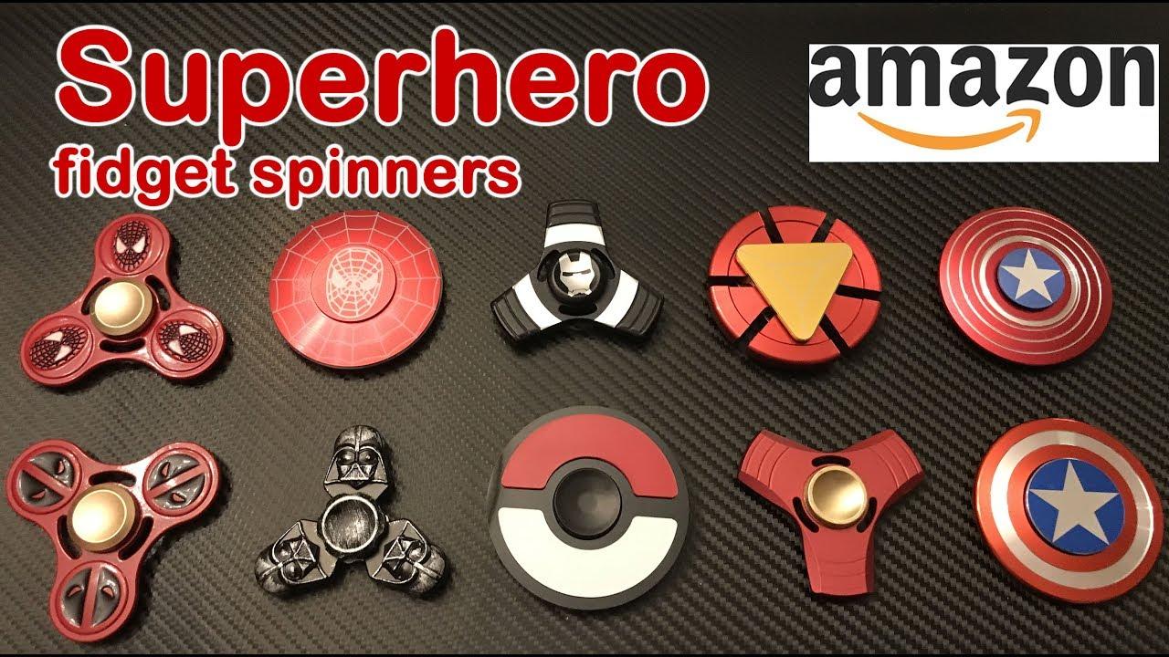 TOP 10 Superhero Fidget Spinners On Amazon Spiderman Iron Man Capt America Darth Vader Dealpool