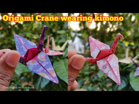 Origami Crane wearing kimono || Easy Paper Bird