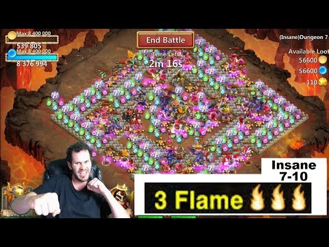 JT's Main INSANE 7 Dungeon 7-10 THREE Flamed Castle Clash
