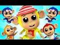 Пять маленьких обезьян | Обезьянки мультфильм | Five Little Monkeys