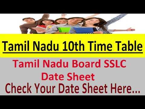 Tamil Nadu SSLC Time Table 2019 tn gov in 10th Date Sheet