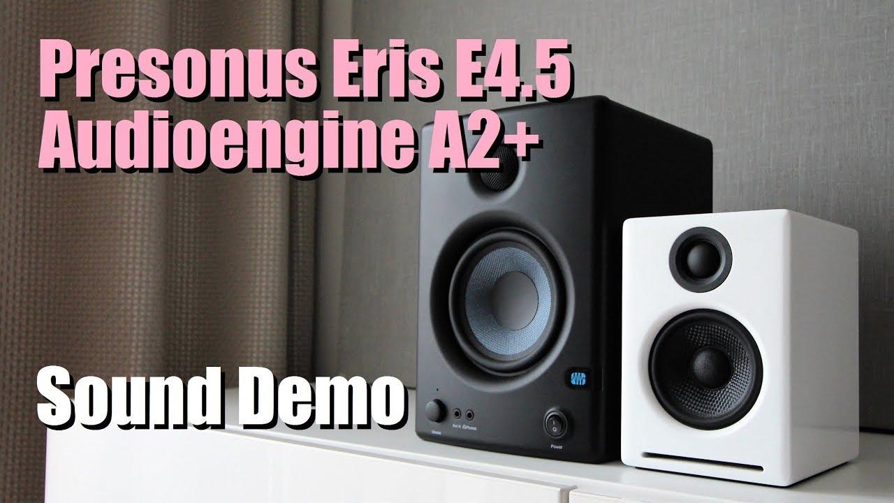 audioengine a2 vs presonus eris e4 5 sound demo w bass test youtube. Black Bedroom Furniture Sets. Home Design Ideas