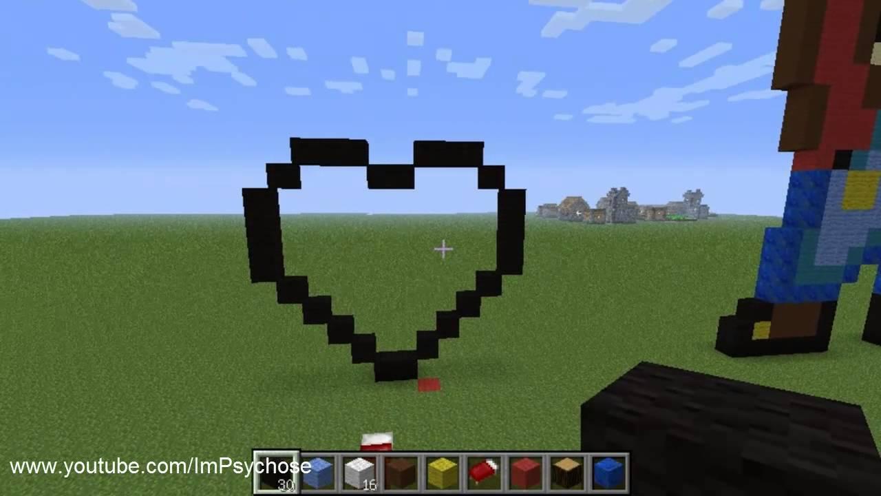 Minecraft Pixel Art Coeur Tutorial Youtube