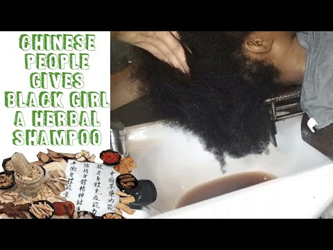 BLACK GIRL GETS HERBAL MEDICINE HAIR WASH IN CHINA ASMR (4C
