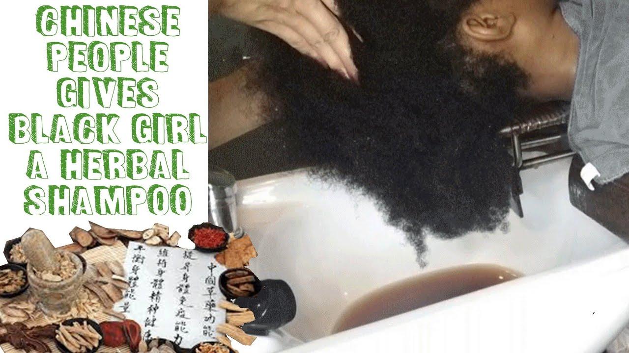 BLACK GIRL GETS HERBAL MEDICINE HAIR WASH IN CHINA ASMR (4C NATURAL HAIR) #Herbalmedicine