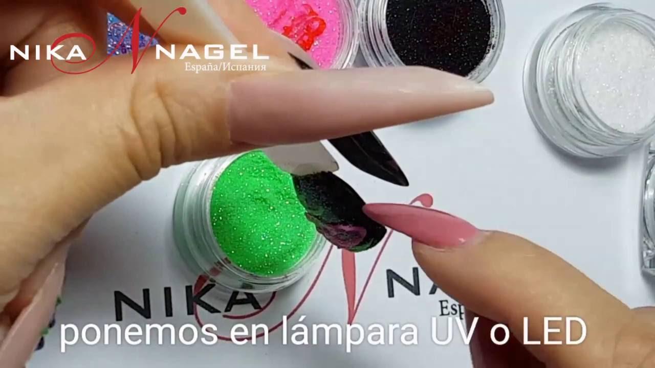 Crea hojas usando gel paint y glitter powder Nika Nagel Spain - YouTube