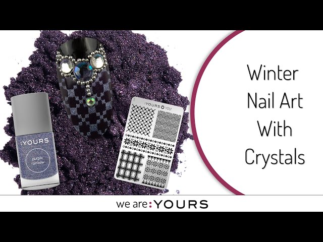 Stamping Winter Nail Art With Crystals