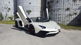 Lamborghini Aventador SV LP 750 4 Superveloce White BULL Ride Acceleration from Lamborghini Miami