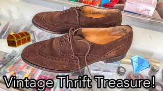 I WALKED INTO A THRIFT SHOP & FOUND THESE!-Suede Care Tutorial on Vintage Johnston & Murphy Wingtips