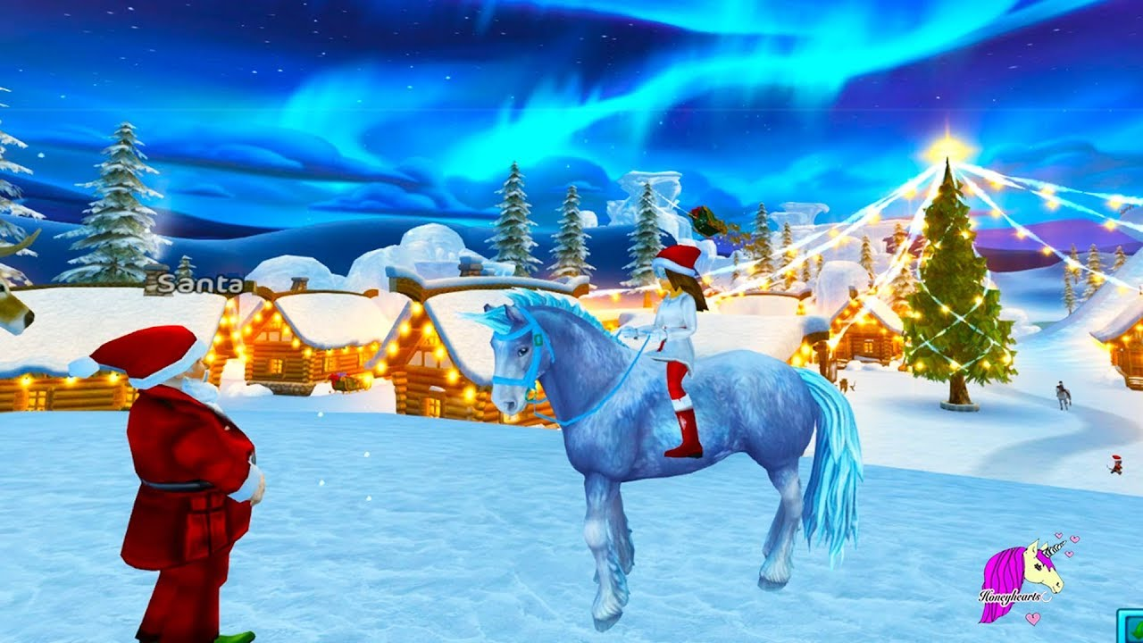 Christmas Horse.Color Changing Ice Unicorn Buying New Star Stable Horse In Christmas Snow Village Roleplay Video