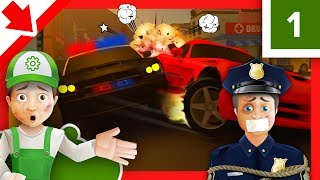 Police car race for children. Sergeant Cooper Police for children. Cartoon Police officer. Policeman