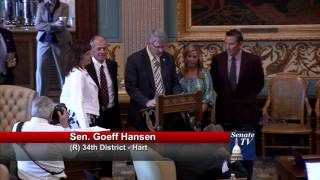 Sen. Hansen recognizes Peterson Farms at Michigan Senate