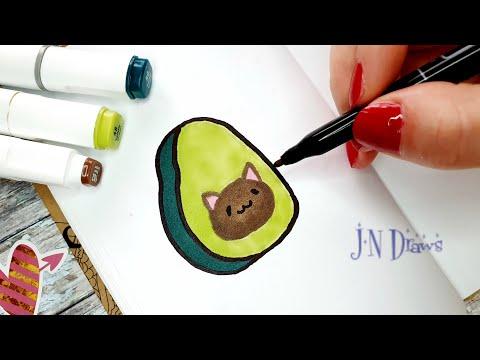 АВОКОТ - Идея Как Нарисовать Авокадо Простые Рисунки В Скетчбук, Личный Дневник Как Рисовать