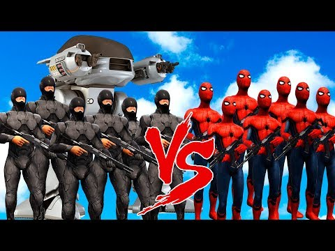 SPIDERMAN SUIT ARMY vs ROBOCOP ARMY & ED 209 - EPIC SUPERHEROES WAR