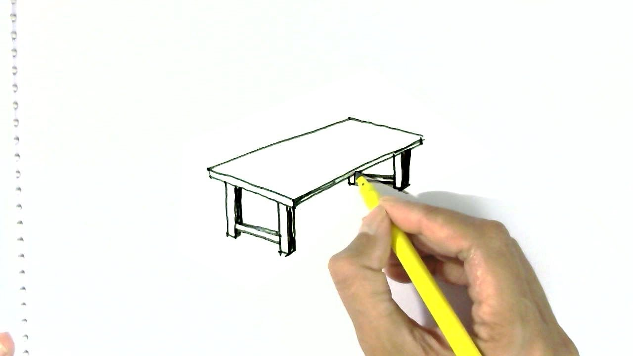 How To Draw A Coffee Table Easy Steps For Children Kids Beginners