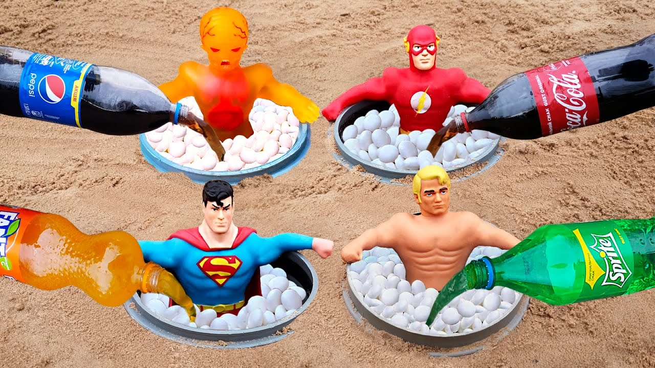 Experiment ! Stretch X-Ray, Superman, Flash, Armstrong vs Cola, Fanta, Sprite and Mentos
