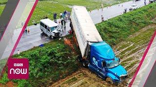 Quảng Ngãi: Xe khách đối đầu container, 13 người thương vong