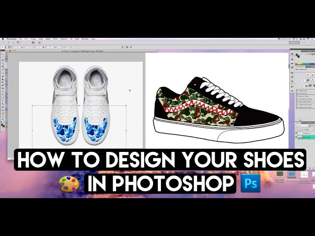 How To Fully Design Any Shoe From Any Angle With Photoshop And Angelus Shoe Mock Up Youtube
