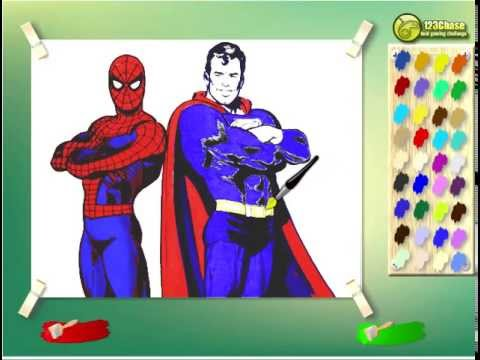 Juego: Colorear Spiderman y Superman Gratis Online   YouTube