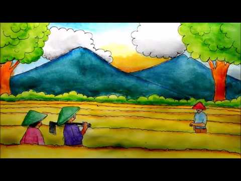 How To Draw Landscape Ricefield Farmer And Mountain